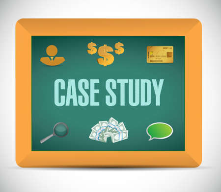 case study: case study business icons chalkboard sign illustration design graphic