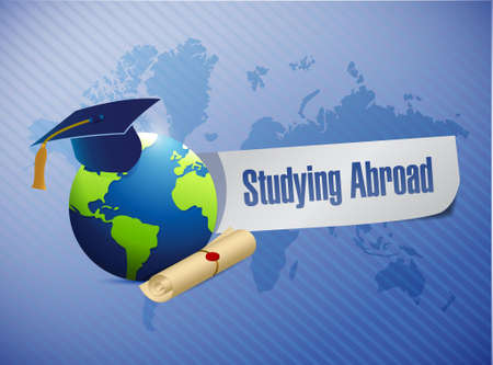 studying abroad globe sign world map illustration design graphic