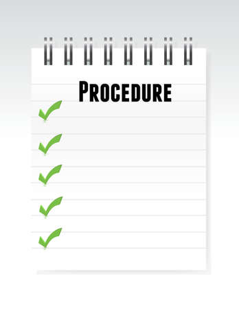 procedure: white procedure notepad illustration design graphic over white