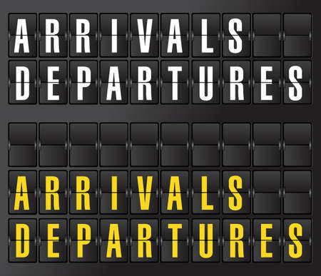 indicator panel: arrival and departures sign on airport board background. illustration design