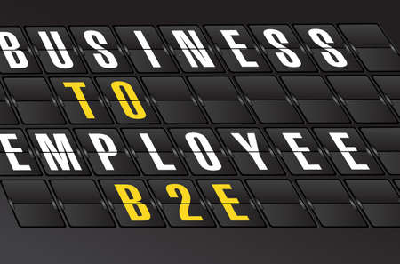 b2e: B2E sign on airport board background. illustration design