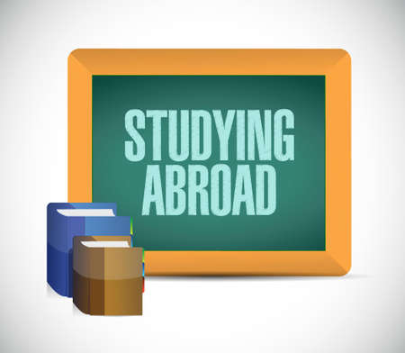 business class travel: studying abroad board sign illustration design graphic