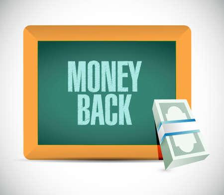 bill board: money back sign on a chalkboard illustration design graphics Illustration