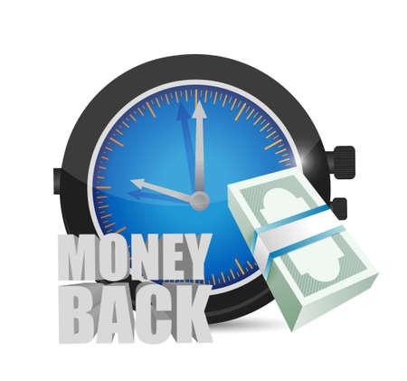 back in time: time for money back concept illustration design graphics