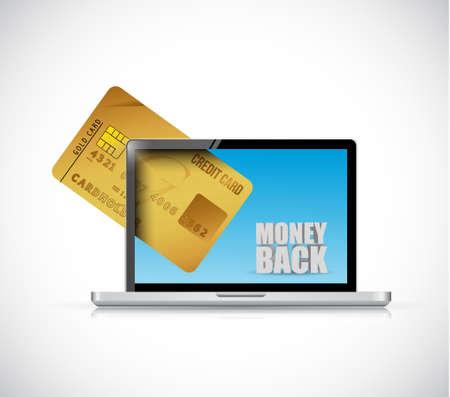credit cart: money back computer and credit cart illustration design graphics