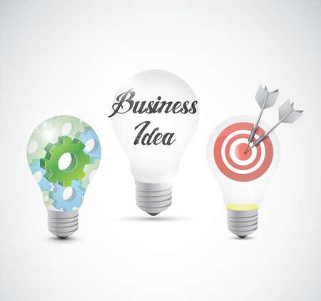 online analytical processing: business idea light bulbs info graphics illustration design Illustration