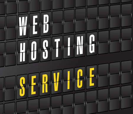 web hosting service concept sign. on airport board background, Çizim