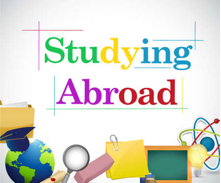 studying abroad education icons illustration design graphic