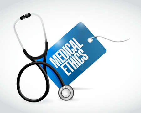 medicaid: stethoscope and medical ethics tag illustration design graphic