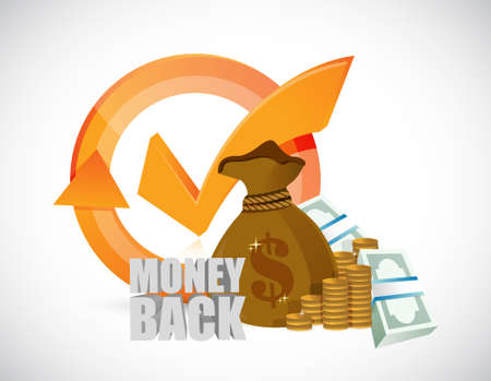 money back check mark cycle illustration design graphics