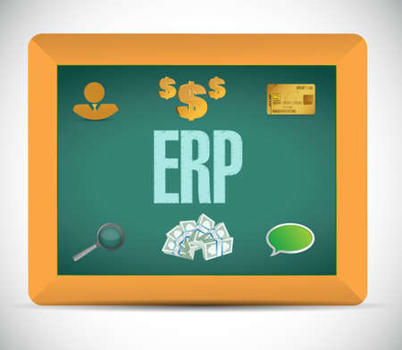 erp: erp business icons chalkboard sign illustration design graphic