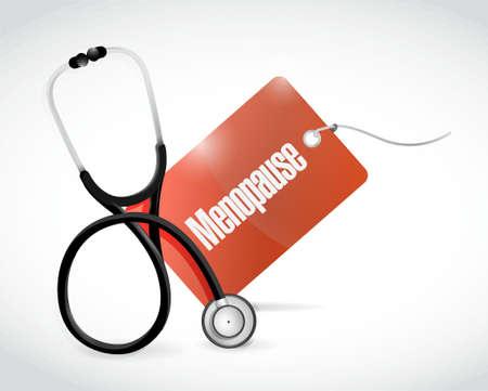 stethoscope and menopause tag illustration design graphic Vektorové ilustrace