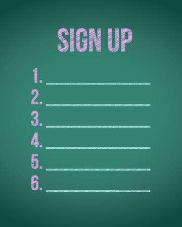 chalk board sign up list illustration design graphic Illustration