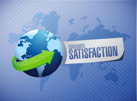 consumer: Consumer Satisfaction globe sign concept illustration design graphic