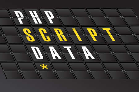 php script data concept sign on airport board background. illustration design