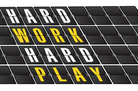 hard: working hard concept sign on airport board background. illustration design