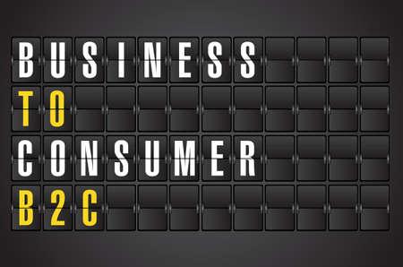 b2c: B2C concept sign on airport board background. illustration design