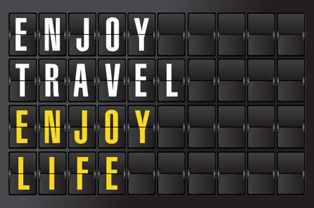 traveling concept sign on airport board background. illustration design 向量圖像
