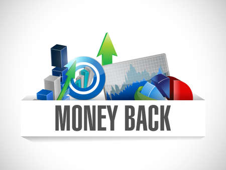 money back: money back graphs illustration design over white