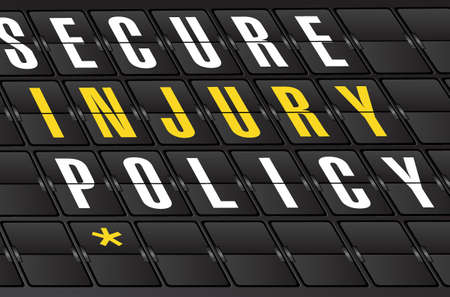 injury policy concept sign on airport board background. illustration design