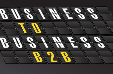 b2b: B2B señal sobre fondo tablero aeropuerto. diseño de la ilustración Vectores