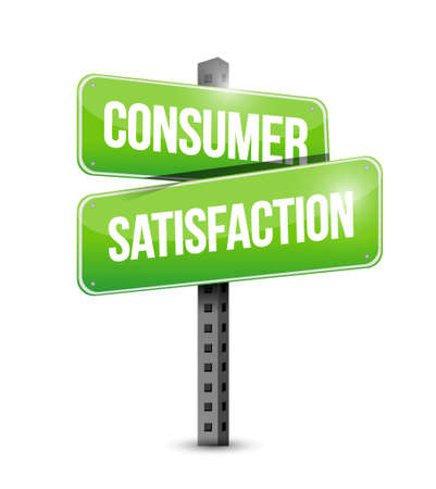 satisfaction: Consumer Satisfaction street road sign concept illustration design graphic