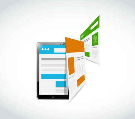 responsive design: tablet responsive concept and pages illustration design graphic Illustration