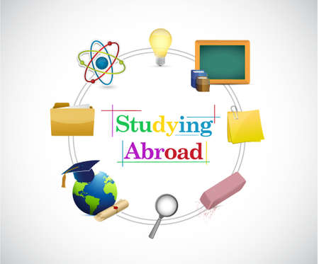 courses: studying abroad circle of education icons illustration design graphic
