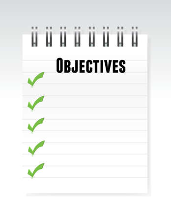 intentions: objectives notepad illustration design over a white background Illustration