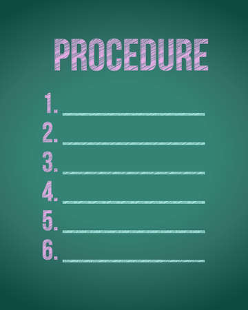 procedures: chalk board procedure list illustration design graphic