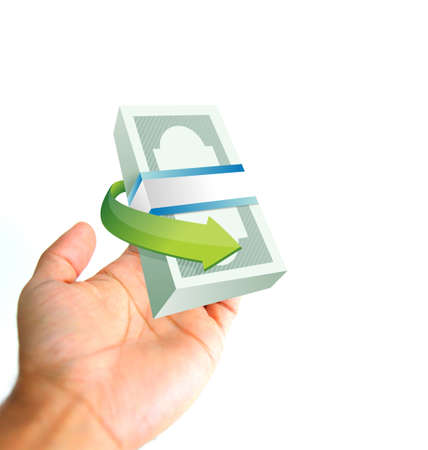 monetary concept: monetary concept. hand and cash illustration isolated over white