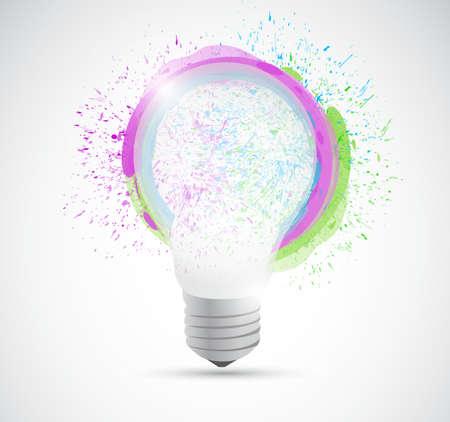 ink illustration: ink and color drops over a light bulb illustration design