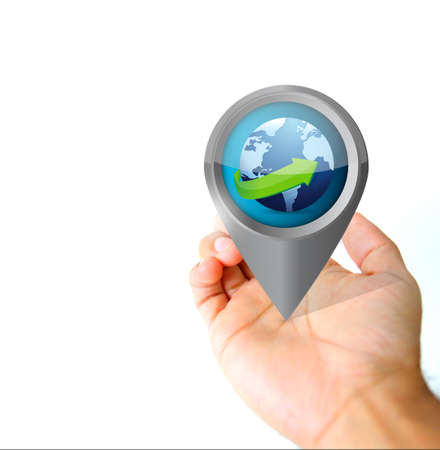 Hand holding a global pin pointer icon illustration isolated over white