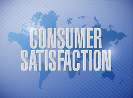 Consumer Satisfaction world map sign concept illustration design graphic Stock Photo
