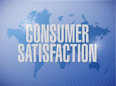 consumer: Consumer Satisfaction world map sign concept illustration design graphic Stock Photo