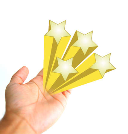 gold stars: Hand and gold stars icons sign illustration isolated over white