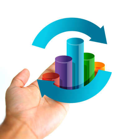 business cycle: business cycle concept. Hand holding a graph cycle illustration isolated over white