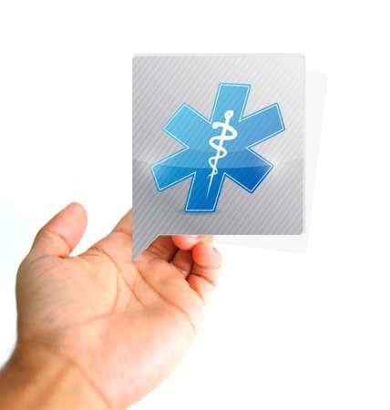 Medische concept. Hand en medische bericht te ondertekenen illustratie geïsoleerd op witte Stockfoto - 50309203