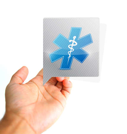 Medical concept. Hand and medical message sign illustration isolated over white Stock Photo
