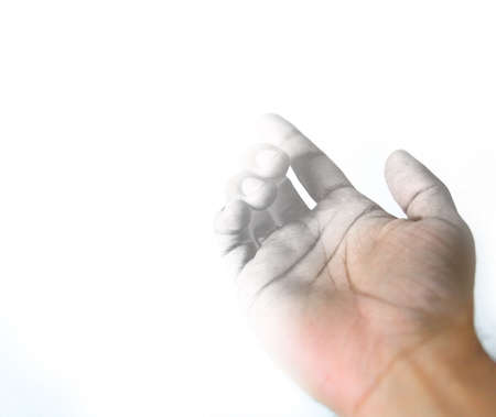 forefinger: Closeup Artist draw hand gesture isolated over white