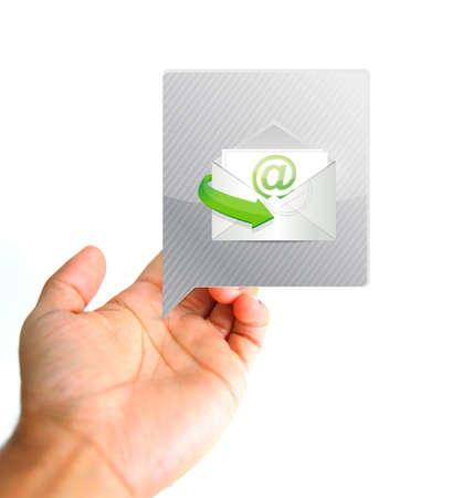 Communication concept. Hand and contact email illustration isolated over white Stock Photo