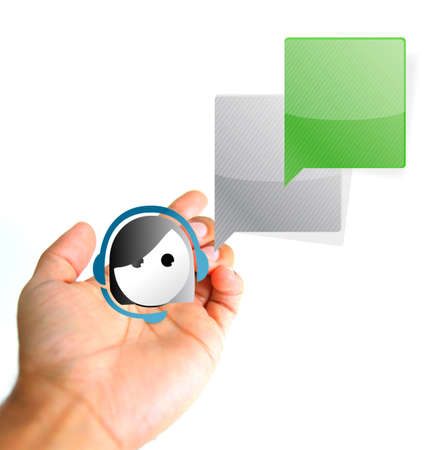 customer service concept. Hand and avatar icon sign illustration isolated over white