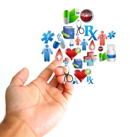 Concepto médico. Mano e iconos médicos firman ilustración aislado más de blanco Foto de archivo