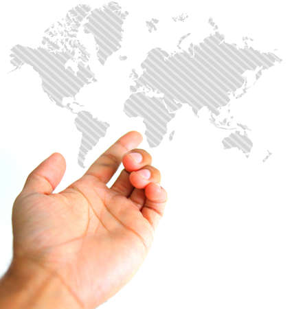 presentation concept. hand and world map illustration. isolated over white Stock Photo