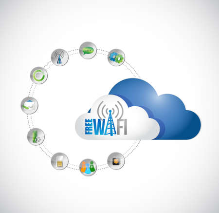 free wifi cloud computing and tools diagram sign illustration design graphic