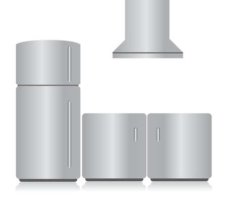 stainless steel kitchen: stainless steel kitchen electronics. illustration design graphic Illustration