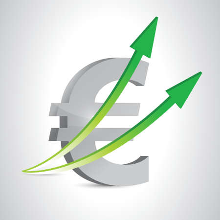 silver reflection: euro symbol green arrow up illustration design graphic