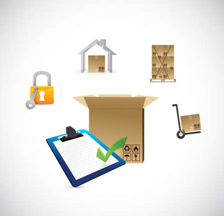 home products: boxes and shipping logistics illustration design graphics Illustration