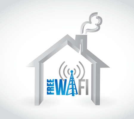 free wifi home concept illustration design graphic Illustration