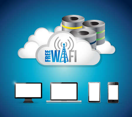 free wifi electronics cloud computing illustration design graphic